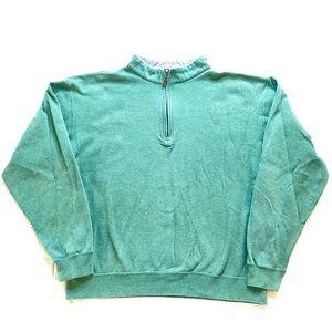 Peter Millar 1/4 Quarter Zip Green Pullover Men XL